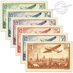 FRANCE PA N°8 À 13 AVION SURVOLANT PARIS, TIMBRES NEUFS**LUXE-1936