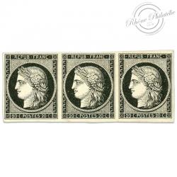 FRANCE N°3 TYPE CÉRÈS, BANDE DE TIMBRES NEUFS, SIGNÉS-1849