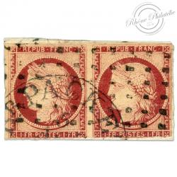 FRANCE N°6 TYPE CERES 1FR CARMIN, BANDE DE TIMBRES OBLITÉRÉ, RARE/DÉFECTUEUX-1849