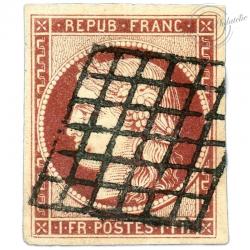 FRANCE N°6 TYPE CERES 1FR CARMIN, SUPERBE TIMBRE OBLITÉRÉ, SIGNÉ BRUN-1849
