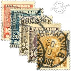 DANEMARK N°43 ET 47 CHRISTIAN IX, TIMBRES OBLITÉRÉS-1904