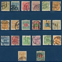 DANEMARK N°1 À 20 TIMBRES POUR JOURNAUX (SANS LE N°18), TIMBRES OBLITÉRÉS-1907