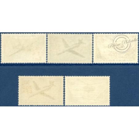 RÉUNION POSTE AÉRIENNE N°56 A 60, PROTOTYPES SURCHARGÉS, TIMBRES NEUFS**, 1957-58