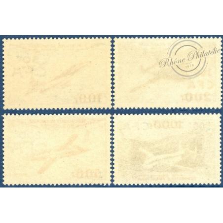 RÉUNION POSTE AÉRIENNE N°52 A 55, PROTOTYPES SURCHARGÉS, TIMBRES NEUFS**, 1954
