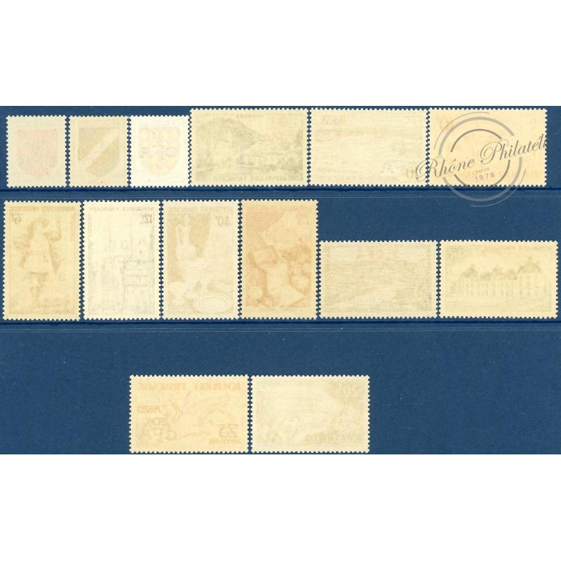 RÉUNION N°307 A 319, TIMBRES DE FRANCE 1953-54 SURCHARGÉS, NEUFS**