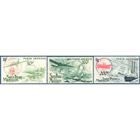 SAINT-PIERRE-ET-MIQUELON POSTE AÉRIENNE N°18 A 20, NEUFS AVEC CHARNIÈRE, 1947
