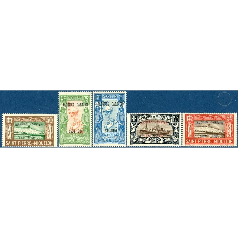 SAINT-PIERRE-ET-MIQUELON N°159A A 159E, TIMBRES NEUFS AVEC CHARNIÈRE, 1934