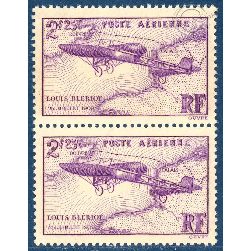 PAIRE PA N°7 TRAVERSÉE DE LA MANCHE PAR LOUIS BLERIOT, TIMBRES NEUFS**, 1934, TB