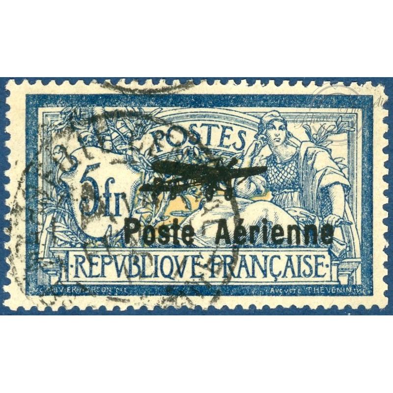 PA N°2 TIMBRE MERSON 5f BLEU SURCHARGÉ POSTE AÉRIENNE, OBLITÉRÉ, 1927, TB