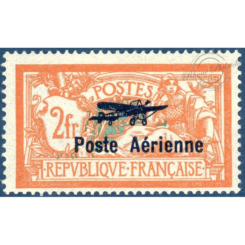 PA N°1 TIMBRE TYPE MERSON SURCHARGÉ POSTE AÉRIENNE, NEUF**, 1927, TTBE