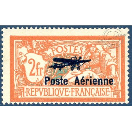 PA N°1 TIMBRE TYPE MERSON SURCHARGÉ POSTE AÉRIENNE, NEUF AVEC CHARNIÈRE, 1927, TTBE