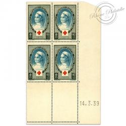 FRANCE N°422 CROIX-ROUGE, COIN DATÉ, TIMBRES NEUFS DE 1939