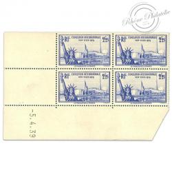 FRANCE TIMBRES N°426 EXPOSITION NEW YORK, COIN DATÉ NEUFS-1939