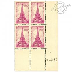 FRANCE TIMBRES N°429 TOUR EIFFEL, COIN DATÉ NEUF-1939