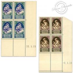 FRANCE TIMBRES N°440 ET 441 NATALITÉ, COINS DATÉS NEUFS-1939