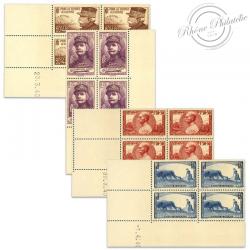 FRANCE TIMBRES N°454 À 457 OEUVRES DE GUERRE, COINS DATÉS NEUFS-1940