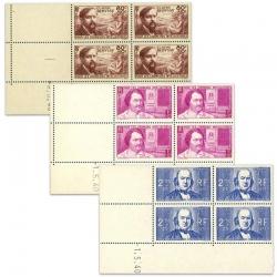 FRANCE TIMBRES N°462 À 464 CHOMEURS INTELLECTUELS, COINS DATÉS NEUFS-1939