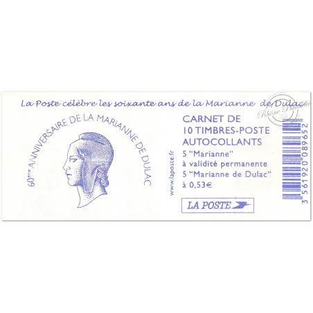"""CARNET """"LES 60 ANS DE LA MARIANNE DULAC"""" N°1513 COMPOSITION VARIABLE (MARIANNES DULAC ET LAMOUCHE)"""