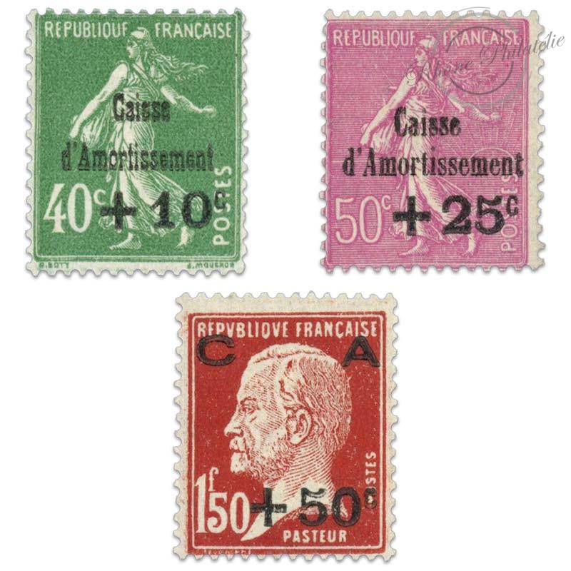 FRANCE N°253 À 255 CAISSE D'AMORTISSEMENT, TIMBRES NEUFS**LUXE-1929