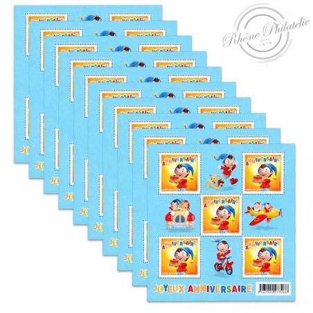 """LOT DE 50 LETTRES PRIORITAIRES, FEUILLES F4183 TIMBRES POUR ANNIVERSAIRES """"OUI-OUI"""" (2008)"""