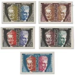 FRANCE SERVICE N°22 À 26 SÉRIE SERVICE DE L'UNESCO, TIMBRES NON DENTELÉS, 1960-65