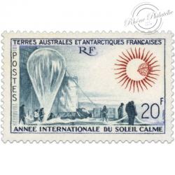 TAAF N°21 ANNÉE INTENATIONALE DU SOLEIL CALME, TIMBRE NEUF-1963