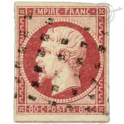 FRANCE N°17A NAPOLÉON, TIMBRE OBLITÉRÉ POINTS, SIGNÉ-1854