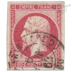 FRANCE N°17B NAPOLÉON, TIMBRE SIGNÉ, OBLITÉRÉ CACHET-1859
