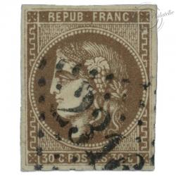 FRANCE N°47 TYPE CÉRÈS 30C BRUN, TIMBRE OBLITÉRÉ, SIGNÉ-1870