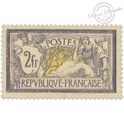 FRANCE N°122 TYPE MERSON 2F. VIOLET ET JAUNE, TIMBRE NEUF-1900