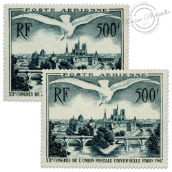 FRANCE LOT PA N°20, VUE DE PARIS, 2 TIMBRES NEUFS-1947