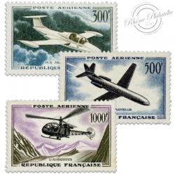 FRANCE POSTE AÉRIENNE N°35-37 PROTOTYPES, TIMBRES NEUFS-1957-59