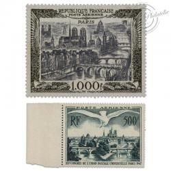 FRANCE PA N°20 ET 29, VUE DE PARIS, 2 TIMBRES NEUFS-1947-50