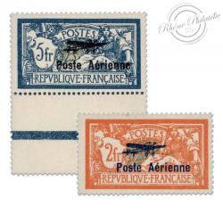 FRANCE PA N°1 ET 2 TYPE MERSON SURCHARGÉS, TIMBRES NEUFS*1927