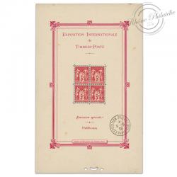 BLOC N°1 EXPOSITION PHILATÉLIQUE, TIMBRES NEUFS* 1ER JOUR-1925