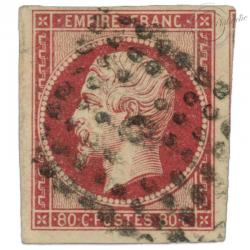 FRANCE N°17A NAPOLÉON, TIMBRE OBLITÉRÉ DE 1854