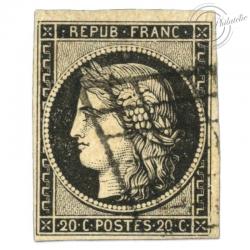 FRANCE N°3 TYPE CÉRÈS, TIMBRE OBLITÉRATION GRILLE-1849