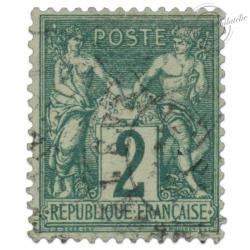 FRANCE N°62 TYPE SAGE 2C VERT, TIMBRE OBLITÉRÉ DE 1876