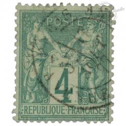 FRANCE N°63 TYPE SAGE 4C VERT, TIMBRE OBLITERE 1876