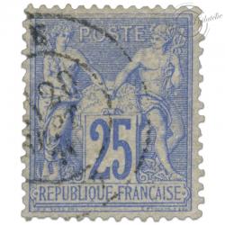 FRANCE N°68 TYPE SAGE 25C OUTREMER, TIMBRE OBLITÉRÉ-1876