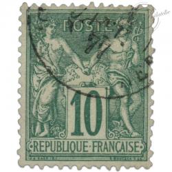 FRANCE N°76 TYPE SAGE 10C VERT, TIMBRE OBLITÉRÉ-1876