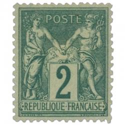FRANCE N°74 TYPE SAGE 2C VERT, TIMBRE NEUF*1876
