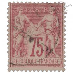 FRANCE N°81 TYPE SAGE 75C ROSE, TIMBRE OBLITÉRÉ-1885