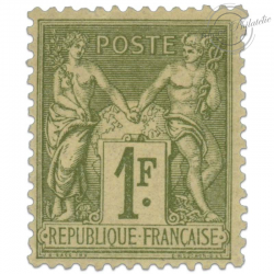 FRANCE N°82 1F OLIVE CLAIR, TIMBRE NEUF*1883