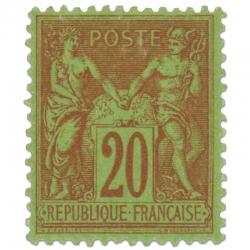 FRANCE N°96 TYPE SAGE 20C BRIQUE SUR VERT, TIMBRE NEUF*1884