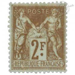 FRANCE N°105 TYPE SAGE 2F BISTRE SUR AZURE, TIMBRE NEUF*1900
