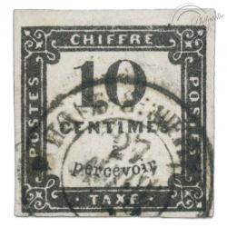FRANCE TAXE N°1, 10 C. TIMBRE OBL ET SIGNÉ BRUN-1859
