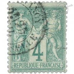 FRANCE N°63 TYPE SAGE 4C VERT, TIMBRE OBLITERE-1876