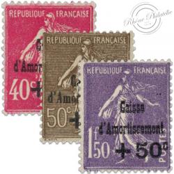 FRANCE N°266 À 268 CAISSE D'AMORTISSEMENT, TIMBRES**/*1930