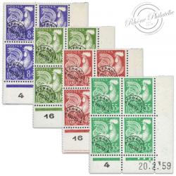 FRANCE COINS DATÉS N°109-113-116-118 COQ GAULOIS, BLOC DE TIMBRES NEUFS*1953-59